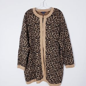 Land's End Leopard Cardigan Plus Size 2X
